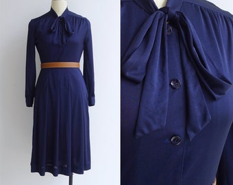 Vintage 70's 'Midnight Sky' Navy Blue Pussy Bow Dress S or M