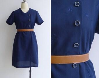 Vintage 70's Navy Blue Mod Embroidered Floral Shift Dress M