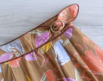 Vintage 80's Brown Floral Tab Waist Plastic Buckle Skirt XXS