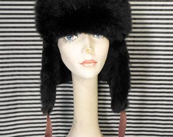 Vintage Ushanka Russian Rabbit Fur + Suede Hat