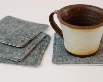 Fabric Coasters Set of 4 / Linen Blend Black