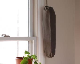 Fabric Plastic Bag Holder / Grocery Bag Holder / Canteen Green Canvas