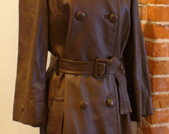 Vintage  Chocolate Brown Leather Trench Coat