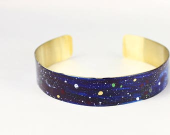 Galaxy Statement Brass Cuff Bracelet