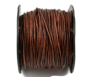 1mm Natural Red Brown Leather Cord - Distressed Matte Finish