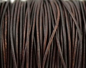 1.5mm Natural Antique Brown Leather Round Cord - Distressed Matte Finish