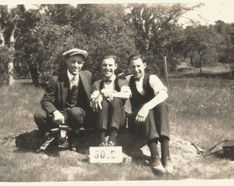 "Vintage Snapshot ""Sold!"" Three Handsome Men Posed Behind Vintage SOLD Sign - Accordion Camera - Black & White Vernacular Photo"