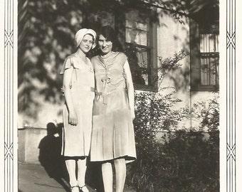 """Vintage Snapshot """"Best Friends"""" Flapper Dress Cloche Pretty Girls Girlfriends Found Vernacular Photo"""