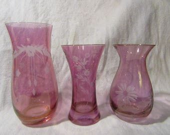 Antique Cranberry Overlay Cut & Etched GLASS VASE Set with Flower Scenes