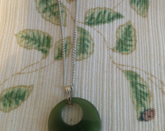 REDUCED  Jade Good Luck Disc Pendent on Silver Chain
