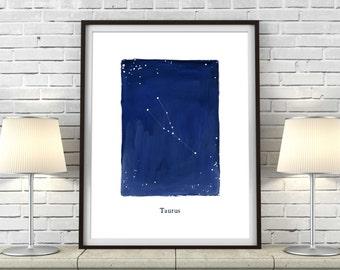 Zodiac, Taurus constellation, stars, cosmos, printable wall art, astrology