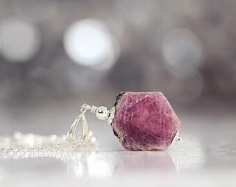 Raw Ruby Necklace - Rough Ruby Pendant - July Birthstone - Ruby Jewelry - Raw Ruby Jewellery - Fine Jewelry For Women