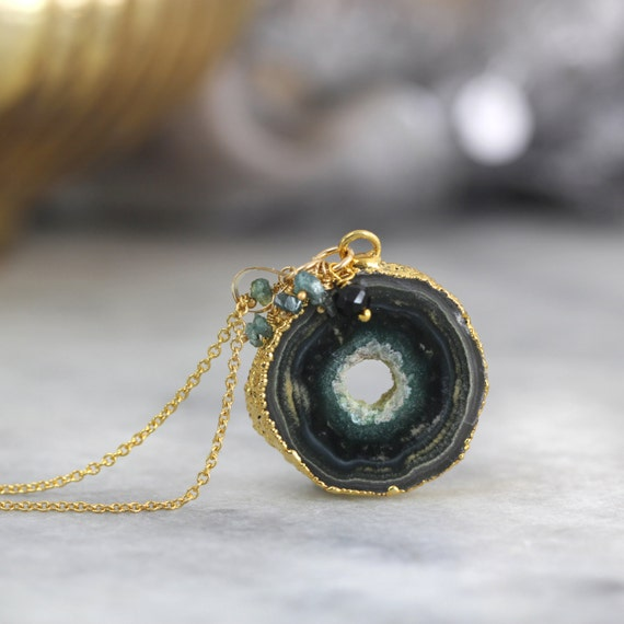 Stalactite & Blue Diamond Necklace - Stalactite Necklace
