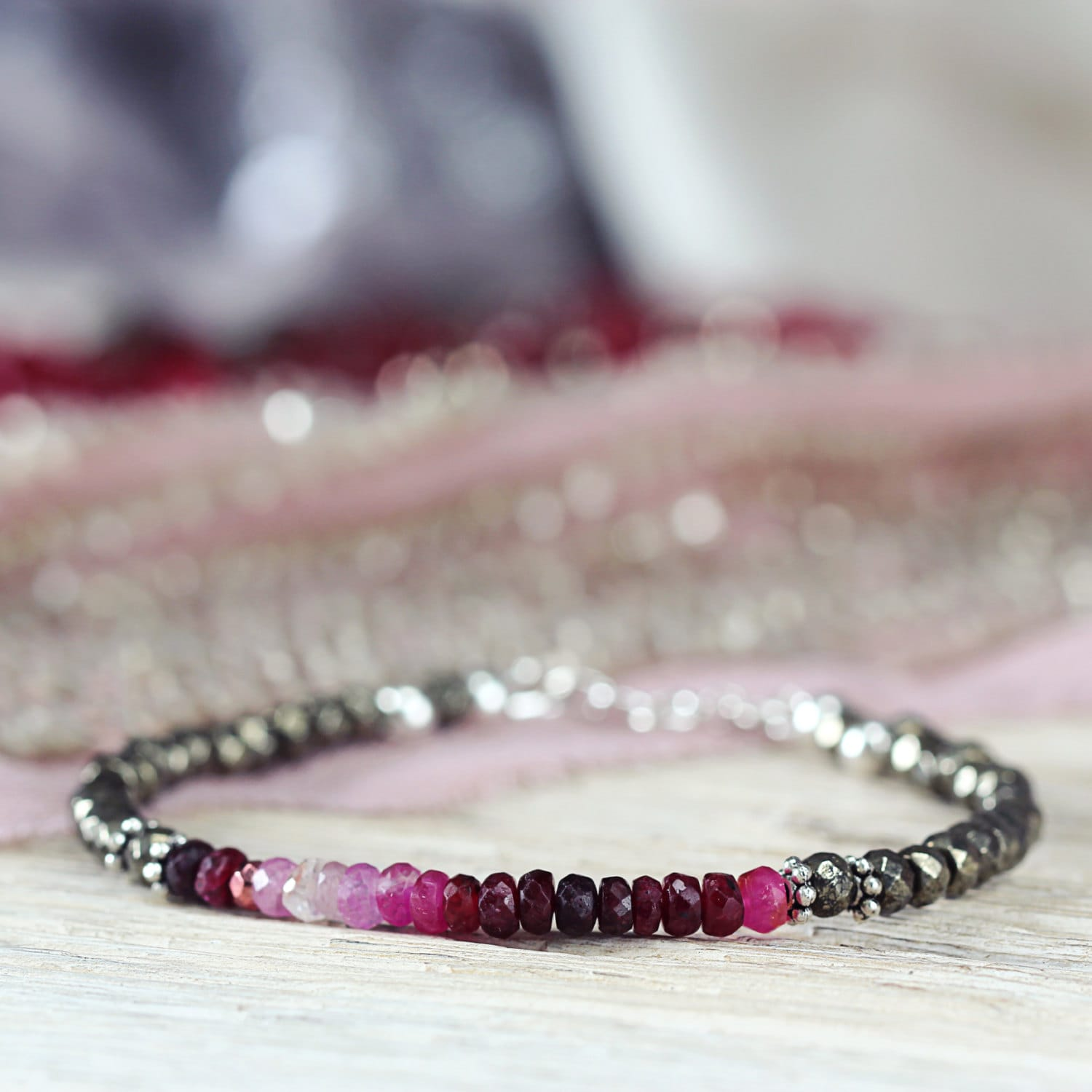 Ombre Ruby Bracelet - July Birthstone Bracelet Gift For Her / Mom / Woman - Gemstone Ruby Jewelry