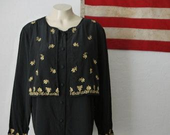 Vintage Diane von Fürstenberg black embroidered silk blouse / size small medium / vintage Diane Von Furestenberg silk black top