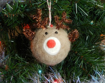 Rudolph Christmas ornament, Needle felted ornament, Reindeer ornament Rudolph ornament, Deer ornament, Rudolph the red nosed reindeer orname