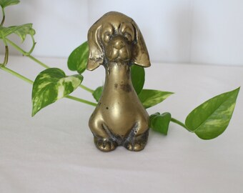 Vintage  Brass Dog - Brass Figurine - Dog Figurine - Unique Decor - Shabby Chic - Brass Knick Knack - Chotchky