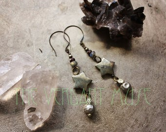 Alchemy Collection Witchy Tribal Earrings- Pyrite Stars with Garnet, Labradorite, and Orissa Beads