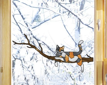 """CLR:WND - Charming Calico Cat on Branch - Stained Glass Style - See-Through Vinyl Window Decal- Copyright 2015 © YYDC (8.5""""w x 4""""h)"""