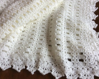 Crochet baby blanket, off white Christening blanket,Paton Beehive Baby QUALITY yarn, unique style, baby blanket.,Variety of colors available