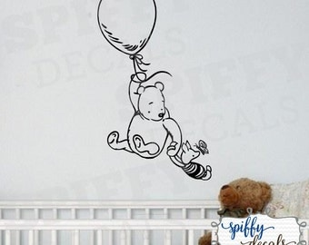 Winnie The Pooh Piglet Balloon Wall Decal Sticker Nursery Classic Winnie The Pooh Bear  Listing Stats Spiffy Decals