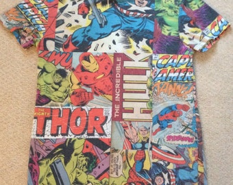 Marvel Comics Tshirt- Hulk-Thor- Captain America-Spiderman- Vintage - Superhero Tee- Small 36""