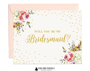 Will You Be My Bridesmaid Card, Bridesmaid Cards, Matron of Honor, Ask Bridesmaid Card, Bridesmaid Maid of Honor, Flower Girl Card - WC0001