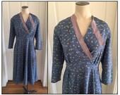Vintage 1930s 40s Blue Chinese Lantern Print Dress 4 6