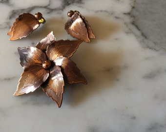 Copper Leaf Pin/Broach and Earrings