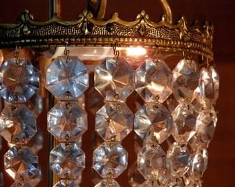 Vintage Chandelier Antique Chandelier 3 Lights 21 BIG strands of Crystal Prisms Ornate European Bronze Design Beautiful!