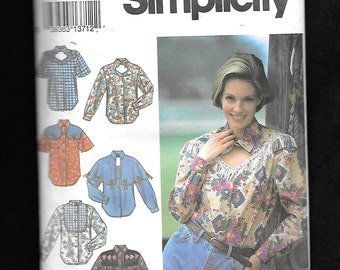 Vintage 1990's Simplicity 8259  Misses'  Western Rock A Billy Cowgirl Shirt With Multiple Yoke Styles, Sizes 18, 20, 22,