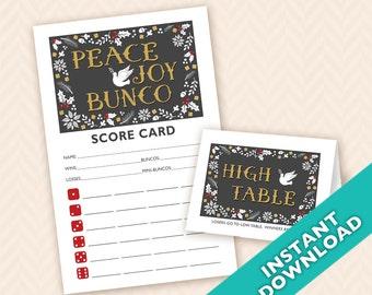 Peace Joy &  Bunco Scorecard and Table Marker Set - Instant Download Printable PDF (a.k.a. Bunko, score card, score sheet)