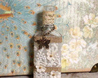 Cottage Chic Home Decor Upcycled Bottle Antique Bottle Lace Bottle Apothecary Assemblage Vanity Bottle Butterfly Charm Farmhouse Bedroom