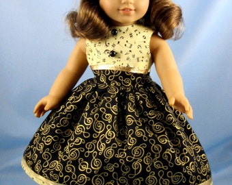 Doll Clothes 18 Inch - Musical Notes - Dress fits American Girl Doll - Fits Melody - Black and Gold Dress for Doll