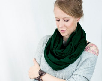 Dark Green Infinity Scarf, Hunter Scarf, Emerald Scarf, Jersey Scarf. Circle Scarf, Spring Scarf, Gift for Her Green Womens Gift Ideas Wife