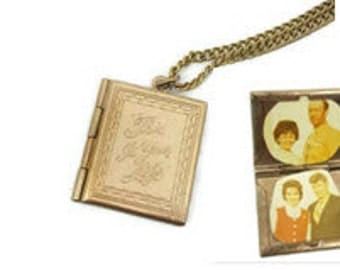 Antique Book Locket With Picture Locket Photo Locket Square Double Locket Antique Locket Vintage Lockets Pendant Locket for Necklace