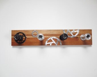 Coat Rack Made From Bicycle Hubs and Gear Ring on Reclaimed Wood , Industrial Decor , Backpack Storage