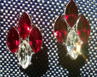 Sparkly YSL Red Deco Revival Rhinestone Earrings -Vintage 1980s - Pierced with Wire Clips - Disco Era