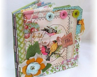 Photo Album, Smash Book, Scrapbook, Beautiful Shabby Chic Birds