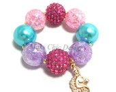 Toddler or Girls Unicorn Charm Chunky bracelet - Hot Pink, Purple, Turquoise and Pink chunky bracelet - Girls Gold Unicorn bracelet