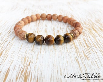 Tiger's Eye & Raw Wood Bracelet, Mala Beads Bracelet, Buddhist Jewelry, Healing Crystal Gemstone Bracelet, Gold Yellow Earthy Boho Bracelet