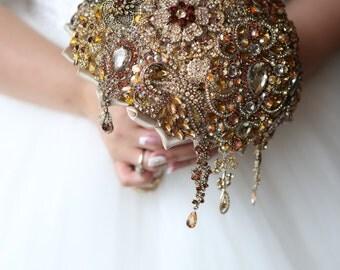 Brooch Bouquet. GOLD crystal Bouquet, Unique Wedding Bridal Bouquet