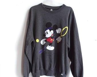 Impresión de Micky Mouse suéter - puente Micky - Disney - Micky Mouse gris Jersey - 90s desgaste Unisex - puente tenis imprimir Disney suéter XL