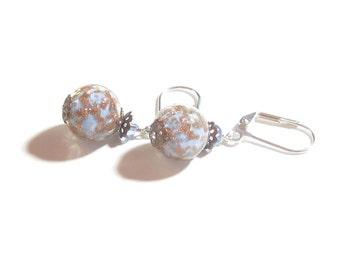 Murano Glass Blue Copper Ball Silver Earrings, Leverback Earrings, Clip on Earrings for Women, Venetian Glass Jewelry, Italian Jewelry