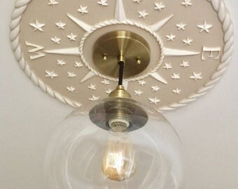 Lighting, Compass Ceiling Rose, Nautical Home Decor, Ceiling Medallion, Chandeliers and Pendants, Compass Ceiling Medallion, Marie Ricci