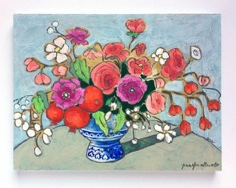 Original floral vase still life painting - From a Table in Grenoble