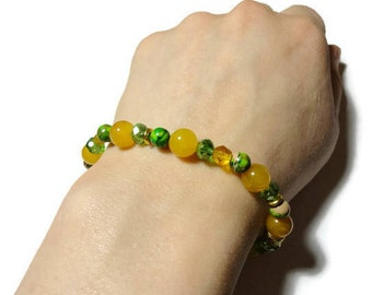 Tropical yellow and green variscite and dragon vein stretch bracelet 20% OFF fits 7 inch wrist