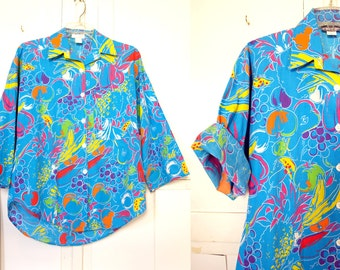 Vintage 80s does 50s wild retro Fruit Blue Hawaiian button up Shirt womens size S or M