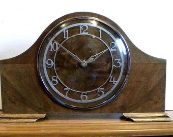 Vintage Shelf Clock - Recycled Large Mantel Clock - Wooden Metamec Clock