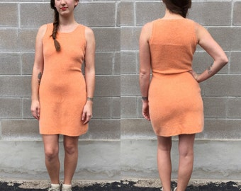 90s orange cream lambswool & angora mini dress